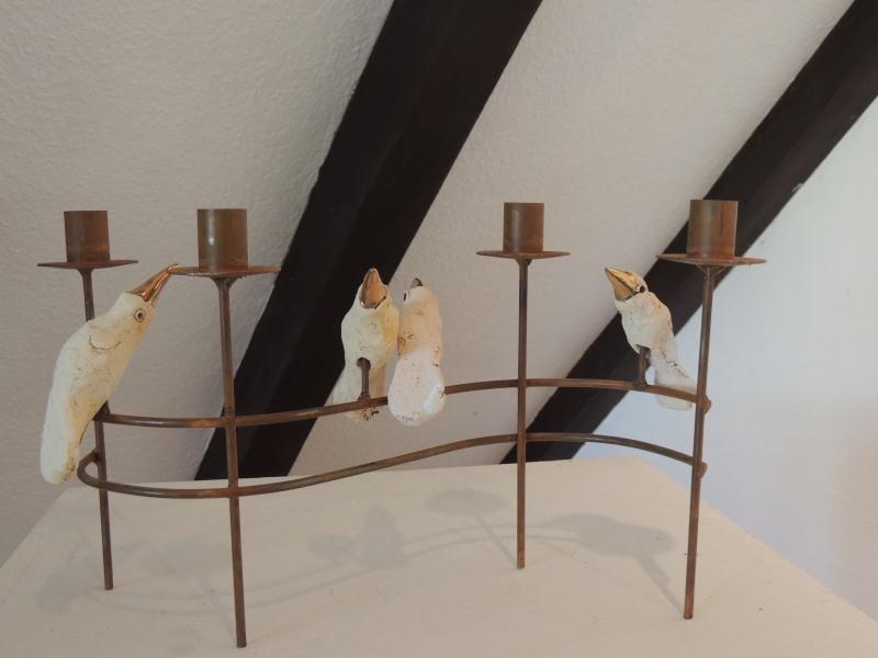 Kerzenleuchter,Metall - Keramik,  80,--
