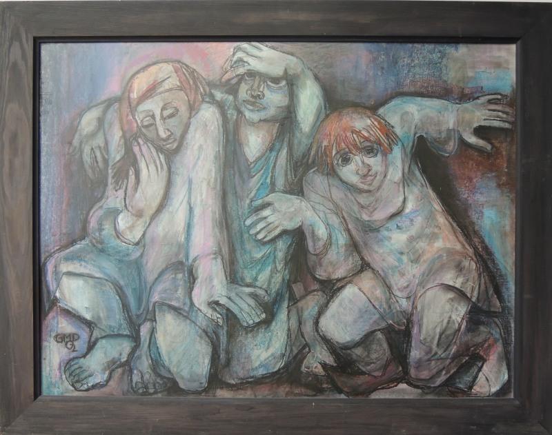 """Prof. Gabriele Myer - Dennewitz, """" Die Traurigen Clowns """" , Pastell 3.000,-- Euro"""